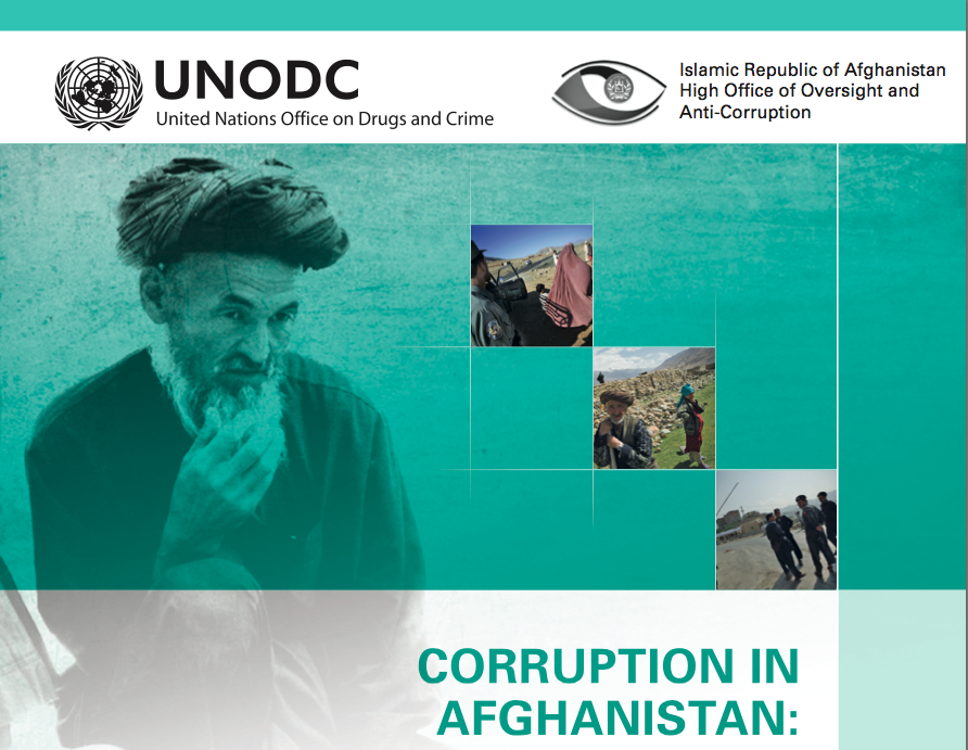 The UNODC Report claims bribes reached a record high in Afghanistan.