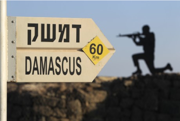 A sign showing the distances to Damascus and a cut out of a soldier are seen at an army post from the 1967 war at Mt. Bental in the Golan Heights, overlooking Syria. (Photo credit: AP Photo/Tsafrir Abayov)
