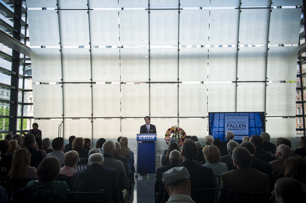 Jim Duff, Newseum chief executive officer, speaks at the Newseum Journalists Memorial rededication ceremony, May 13, 2013. (Photo Credit: Maria Bryk/Newseum)