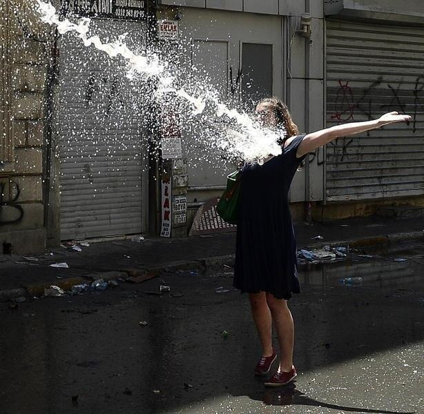Gezi park protester hit by water cannon. (Source: http://occupygezipics.tumblr.com)