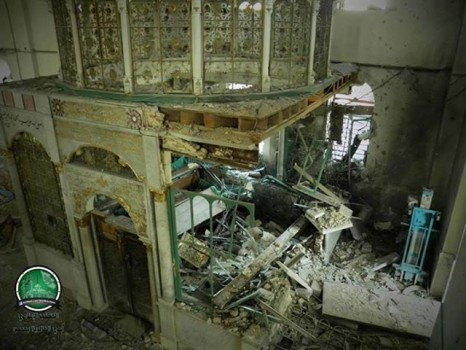 Destroyed shrine of Khalid bin Walid (Source: FreeHalab.Wordpress.com)