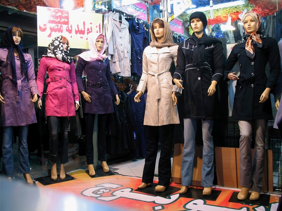 Mannequins in a Tehran shop display various styles of manteau, the long coat popular in Iran.