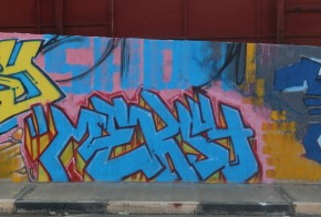 """Elmalti's graffiti piece """"Mercy"""" right after completion in December 2013. To this day, it remains on Al Saidi Street. (Photo credit: OMCT)"""