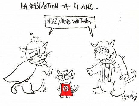 "Willis from Tunis cartoon about the second round of the Tunisian presidential elections, December 2014. In French, it says ""The Revolution is 4 years old. Come on, come to see your uncle"" (Photo credit: Willis from Tunis)"