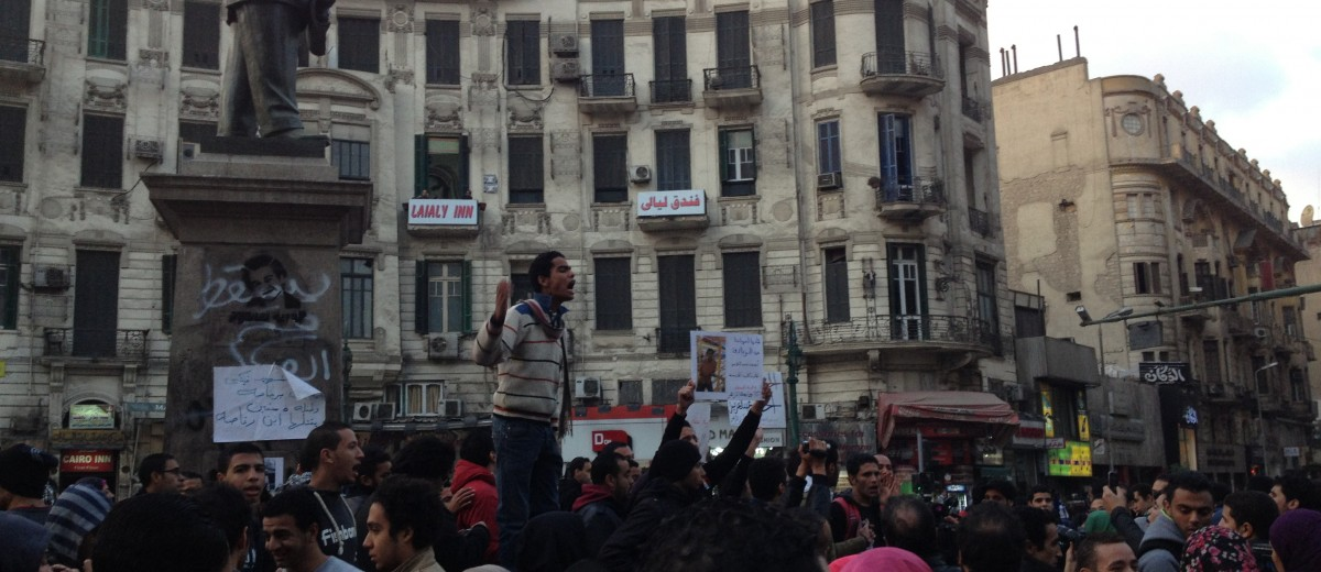 Egyptian student-activists take to the streets of Cairo in December 2013, in defiance of the Sisi regime's ban on protests lacking official government approval (Photo credit: Andrew Klein).