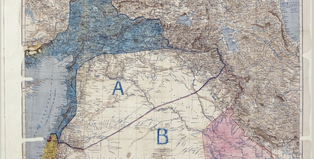 Map of Sykes–Picot Agreement showing Eastern Turkey in Asia, Syria and Western Persia, and areas of control and influence agreed between the British and the French. Photo Source: The National Archives (United Kingdom)
