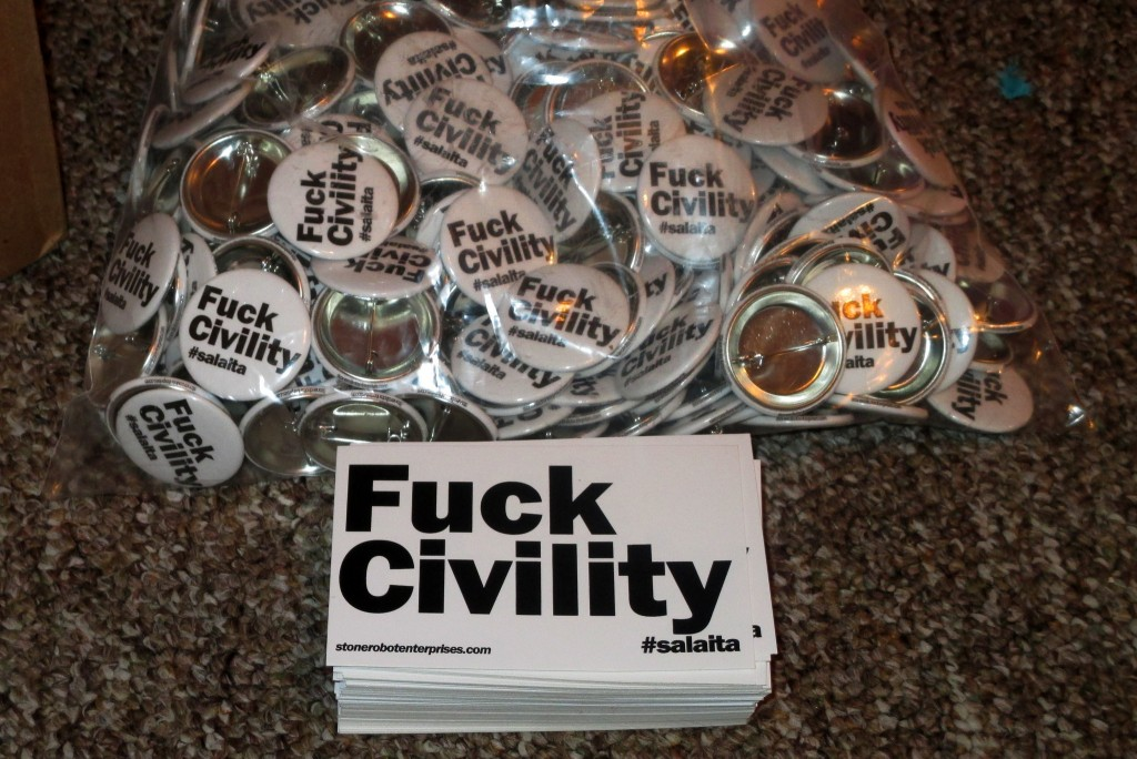 Fuck Civility stickers and buttons to support Steven Salaita (credit: Flickr).