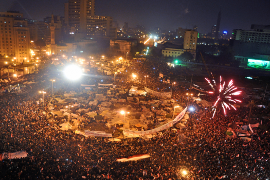 Celebrations in Tahrir Square after Omar Soliman's statement that concerns Mubarak's resignation. February 11, 2011 - 10:15 PM (credit: Jonathan Rashad).