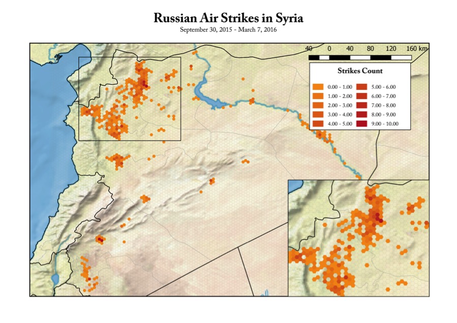 Institute for the Study of War data on Russian airstrikes in Syria between September 30, 2015 and March 7, 2016. Visualized by Anastasia Vladimirova.