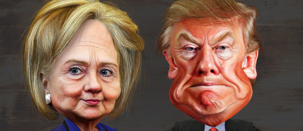 Photo from DonkeyHotey on flickr: This caricature of Hillary Clinton was adapted from a photo in the public domain from the East Asia and Pacific Media's Flickr photostream. The body was adapted from a photo in the public domain from the U.S. Department of State's Flickr photostream. This caricature of Donald Trump was adapted from Creative Commons licensed images from Max Goldberg's flickr photostream.