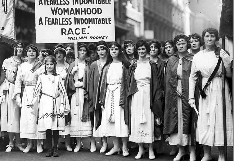 A year after women won full voting rights, these women joined in the St. Patrick's Day Parade on Fifth Avenue on March 27, 1921 (Photo from New York Times archive)