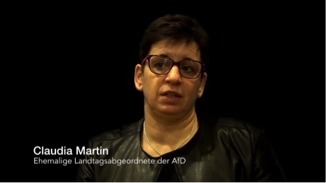 Claudia Martin, a former local MP in Baden-Württemberg for the AfD, in her warning issued to the German people (Source: YouTube) 16 December 2016.
