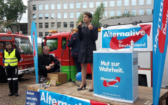 Frauke Petry, head of the German AfD party giving a speech at an event in Bochum on 5 September 2015. Credit: Metropolitico/Flickr