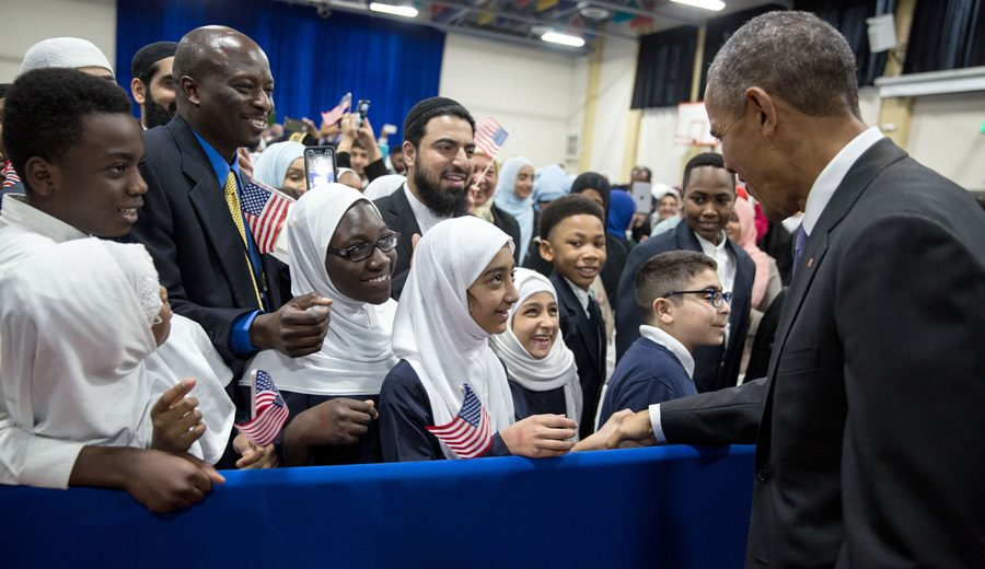 President Barack Obama greets students after he delivers remarks to students in the gymnasium at the Islamic Society of Baltimore mosque and Al-Rahmah School in Baltimore, Maryland, Feb. 3, 2016. (Official White House Photo by Pete Souza)