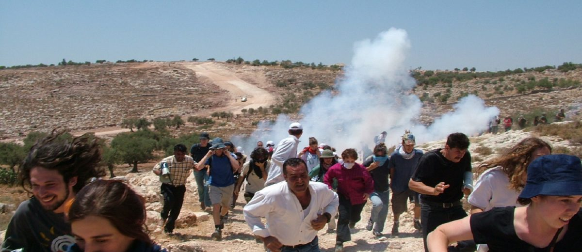 anti-occupation protest in Bil'in, West Bank in 2005