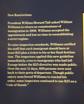 An interpretive panel explaining the result of implementing new immigration requirements without a grace period. (Photo: Claire Sadar)