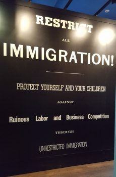"The entrance to ""The Closing Door"" section of the ""Peak Immigration Years"" exhibition on Ellis Island. (Photo: Claire Sadar)"