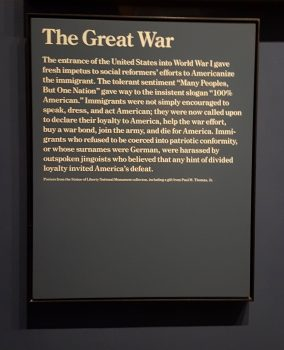 A plaque describing the harassment of German Americans and the suspicions against immigrants that followed the United States' entry into the First World War (Photo: Claire Sadar)