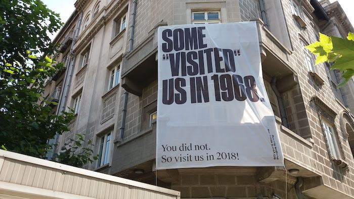 A banner referring to the invasion of Czechoslovakia in 1968, at the Czech Cultural Center in Bucharest, which screened a dozen or so New Wave movies this year (Photo credit: Frank Elbers)